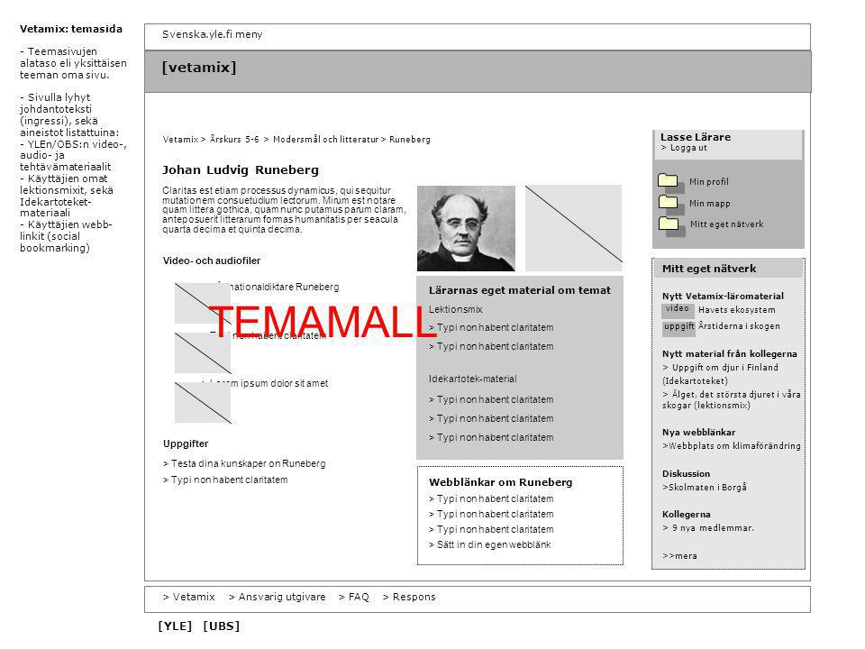 TEMAMALL [vetamix] Johan Ludvig Runeberg [YLE] [UBS] Vetamix: temasida